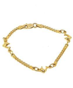【送料無料】ブレスレット アクセサリ― イエローゴールドファンシーリンクイルカブレスレット9ct yellow gold fancy link dolphins bracelet child kids 6 fully hallmarked