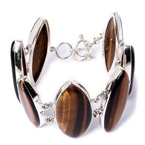【送料無料】ブレスレット アクセサリ― キャッツアイスターリングシルバーブレスレットchunky tigers eye gemstone amp; 925 sterling silver adjustable bracelet with tbar