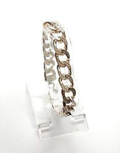 【送料無料】ブレスレット アクセサリ― スターリングシルバークリアキュービックジルコンブレスレットセット925 sterling silver clear cubic zircon cz set heavy chunky curb bracelet 365g