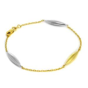 【送料無料】ブレスレット アクセサリ― イエローホワイトゴールドファインインチブレスレットビーズ9ct yellow amp; white gold fine 7 inch bracelet with elongated beads