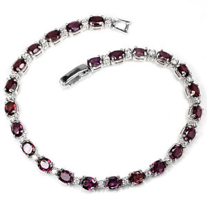 【送料無料】ブレスレット アクセサリ― スターリングシルバーラズベリーブレスレットインチsterling silver 925 genuine natural deep raspberry rhodolite bracelet 7 inches