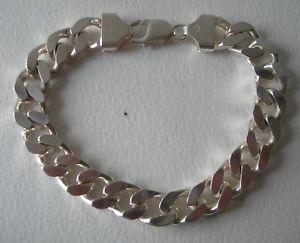 【送料無料】ブレスレット アクセサリ― インチシルバーヘビーブレスレットnice 9 long hallmarked silver heavy chunky curb bracelet 672g