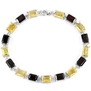 【送料無料】ブレスレット アクセサリ― スターリングシルバーエメラルドガーネットカットシトリンブレスレットインチsterling silver 925 genuine natural emerald cut garnet amp; citrine bracelet 7 inch