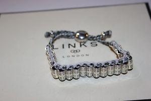 【送料無料】ブレスレット アクセサリ― ロンドンスターリングシルバーベンチャーグレーコードブレスレットリンクgenuine links of london sterling silver venture grey woven cord bracelet bnib