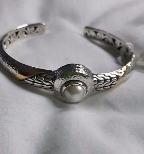 【送料無料】ブレスレット アクセサリ― スターリングシルバーカフブレスレット925 sterling silver cuff bracelet gold inlaid and mop