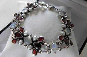 【送料無料】ブレスレット アクセサリ― gスターリングシルバームーンストーンブレスレットchunky amp; exceptional 59g sterling silver 925 stamped mop moonstone bracelet 9
