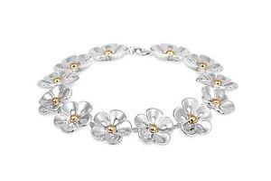 【送料無料】ブレスレット アクセサリ― スターリングシルバーデイジーチェーンブレスレットsterling silver amp; 14ct gold plated daisy bracelet