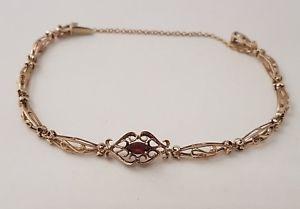 【送料無料】ブレスレット アクセサリ― ゴールドガーネットファンシーブレスレットフル1 9ct gold 1*garnet stone fancy bracelet full british hallmark