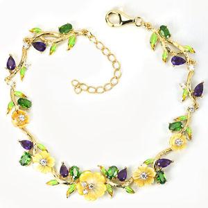 【送料無料】ブレスレット アクセサリ― スターリングシルバーパールフラワーブレスレットインチsterling silver 925 gold plated gem amp; mother of pearl flower bracelet 759 inch