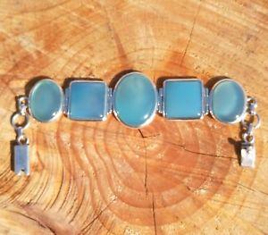 【送料無料】ブレスレット アクセサリ― ソリッドシルバーヘビービンテージブレスレット925 solid silver heavy vintage blue chalcedony bracelet