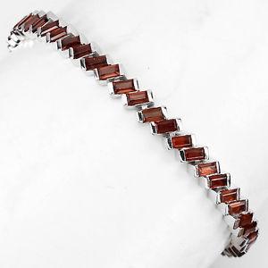 【送料無料】ブレスレット アクセサリ― スターリングシルバーバゲットガーネットテニスカットブレスレットインチsterling silver 925 genuine natural baguette cut garnet tennis bracelet 75 inch