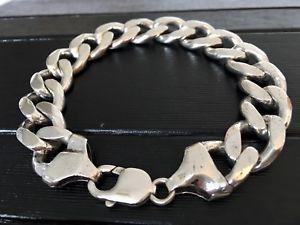 【送料無料】ブレスレット アクセサリ― メンズソリッドシルバーブレスレットインチmens solid silver bracelet heavy hallmarked 743g 9 inches long boxed gift