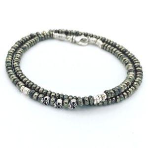 【送料無料】ブレスレット アクセサリ― ロンドンメンズブレスレットパイライトスターリングスカルtateossian stunning london mens bracelet pyrite sterling skull silver