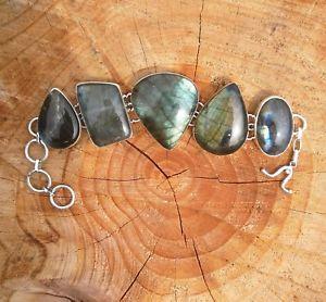 【送料無料】ブレスレット アクセサリ― ビンテージソリッドシルバーブレスレットvintage heavy 925 solid silver labradorite bracelet