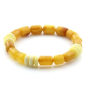 【送料無料】ブレスレット アクセサリ― バルトブレスレットシリンダービーズnatural baltic amber bracelet large cylinder beads 12mm 89gr ad76
