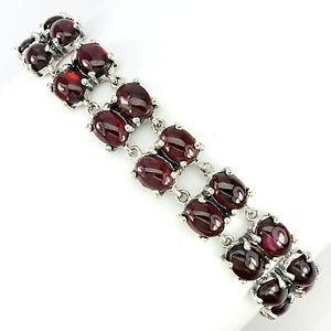 【送料無料】ブレスレット アクセサリ― スターリングシルバーカボションガーネットブレスレットインチsterling silver 925 natural cabochon rhodolite garnet 2 row bracelet 7 inch
