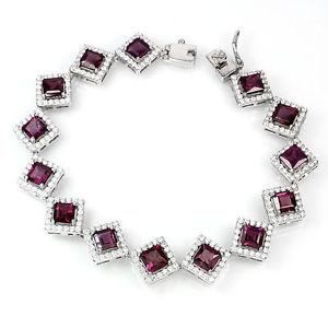 【送料無料】ブレスレット アクセサリ― スターリングシルバーガーネットブレスレットインチsterling silver 925 genuine rhodolite garnet gemstone statement bracelet 7 inch