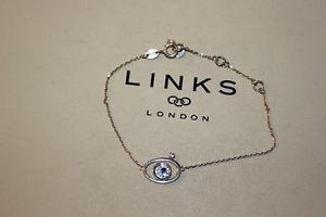 【送料無料】ブレスレット アクセサリ― ロンドンスターリングシルバーサファイアトパーズブレスレットリンクgenuine links of london sterling silver evil eye sapphire amp; topaz 19 cm bracelet