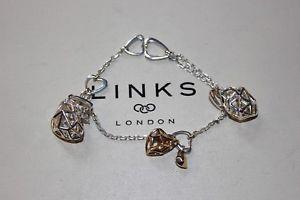 【送料無料】ブレスレット アクセサリ― ロンドンスターリングシルバーリンクフラッタワウブレスレットgenuine links of london sterling silver amp; 18ct ygv flutter amp; wow 17 cm bracelet