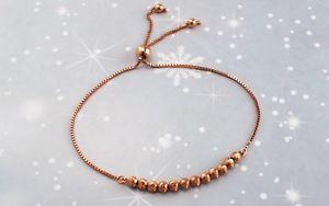 【送料無料】ブレスレット アクセサリ― ローズゴールドボールチェーンスライダーブレスレット9ct rose gold ball amp; chain slider adjustable bracelet