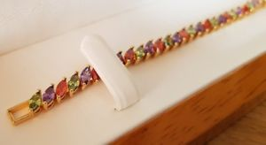 【送料無料】ブレスレット アクセサリ― イエローゴールドカットブレスレットyellow gold finish marquise cut multicoloured bracelet beautifully gift idea
