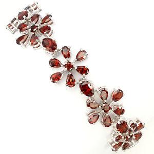 【送料無料】ブレスレット アクセサリ― スターリングシルバーガーネットブレスレットインチsterling silver 925 genuine natural garnet floral design bracelet 75 85 inch