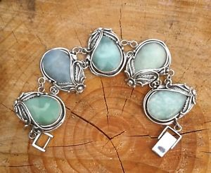 【送料無料】ブレスレット アクセサリ― ビンテージソリッドシルバーブレスレットvintage heavy 925 solid silver unusual hemimorphite stone bracelet