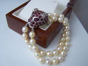 【送料無料】ブレスレット アクセサリ― ソリッドスターリングシルバーパールガーネットブレスレットmagnificent solid sterling silver leopard cat panther pearl garnet bracelet 7