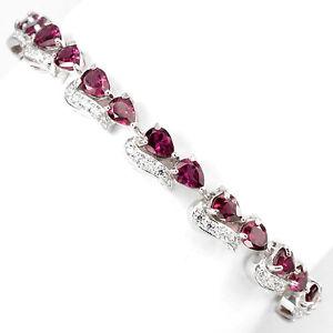 【送料無料】ブレスレット アクセサリ― スターリングシルバーラズベリーピンクブレスレットインチsterling silver 925 genuine natural raspberry pink rhodolite bracelet 75 inch