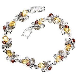 【送料無料】ブレスレット アクセサリ― スターリングシルバーシトリンガーネットスモーキークオーツスワールブレスレットsterling silver 925 genuine citrine garnet smokey quartz amp; swirl bracelet 7 75