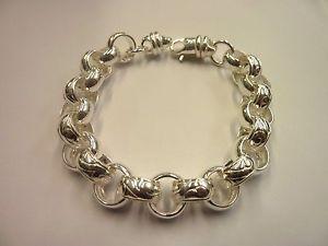 【送料無料】ブレスレット アクセサリ― ソリッドスターリングシルバーヘビープレーンベルチャーブレスレットgsolid sterling silver heavy plain amp; patterned 9 belcher bracelet 35 g 13mm