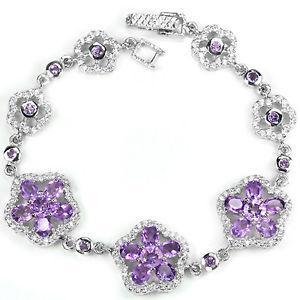 【送料無料】ブレスレット アクセサリ― スターリングシルバーアメジストクラスターブレスレットインチsterling silver 925 genuine natural purple amethyst cluster bracelet 775 inch
