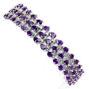 【送料無料】ブレスレット アクセサリ― スターリングシルバーアメジストブレスレットインチsterling silver 925 genuine natural purple amethyst 3 row bracelet 75 inches