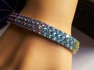 【送料無料】ブレスレット アクセサリ― スターリングシルバーマルチジェムブレスレットsterling silver multi gem bracelet