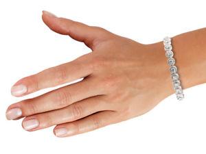 【送料無料】ブレスレット アクセサリ― ハローリンクブレスレットセットsterling silver halo link bracelet set with cz, 75185cm