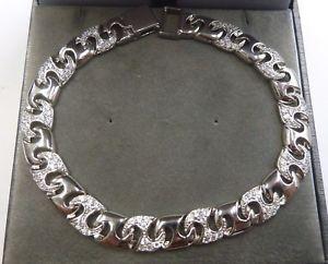 【送料無料】ブレスレット アクセサリ― スターリングシルバーセットリンクブレスレットヘビーグラム sterling silver925 stone set amp; plain link bracelet 8 14 heavy 23 grams