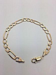 【送料無料】ブレスレット アクセサリ― イエローソリッドゴールドフィガロブレスレット9ct yellow solid gold figaro bracelet 7
