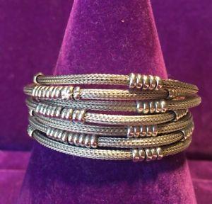 【送料無料】ブレスレット アクセサリ― スターリングシルバーストランドブレスレット** 925 *hallmarked sterling silver chunky unusual 7 strand statement bracelet