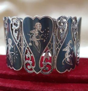 【送料無料】ブレスレット アクセサリ― ビンテージスターリングシルバーブレスレットサイアムシルバーグラムvintage sterling silver bracelet, siam silver,very wide, nielloware, 58 gr, 1940