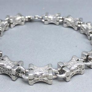 【送料無料】ブレスレット アクセサリ― スターリングシルバーキュービックジルコンリンクブレスレットawesome strong 925 sterling silver cubic zircon *cross link* bracelet 1907a
