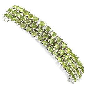 【送料無料】ブレスレット アクセサリ― スターリングシルバーカボションペリドットブレスレットインチsterling silver 925 genuine natural cabochon peridot 3 row bracelet 75 inches