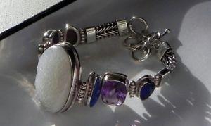【送料無料】ブレスレット アクセサリ― gスターリングシルバートグルブレスレットfabulous 34g sterling silver 925 stamped druzy quartz gemstone toggle bracelet