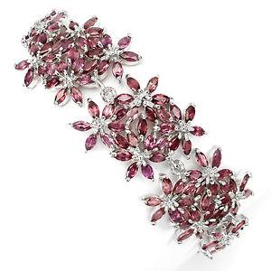【送料無料】ブレスレット アクセサリ― スターリングシルバーデザインブレスレットインチsterling silver 925 genuine rhodolite gemstone floral design bracelet 75 inch