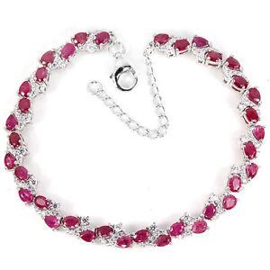 【送料無料】ブレスレット アクセサリ― スターリングシルバーピンクルビーブレスレットインチsterling silver 925 genuine natural pink ruby gemstone bracelet 725 9 inches