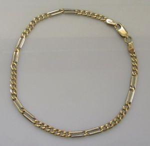 【送料無料】ブレスレット アクセサリ― ホワイトイエローゴールドフラットブレスレットインチsecondhand 9ct white yellow gold flat curb 38g bracelet 7 12inches