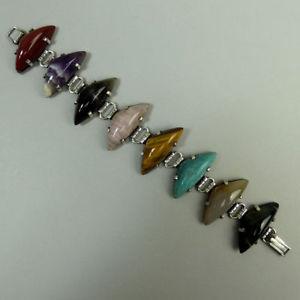 【送料無料】ブレスレット アクセサリ― スタイリッシュビンテージシルバーマルチブレスレットstylish vintage silver multisemiprecious stone bracelet 1960s