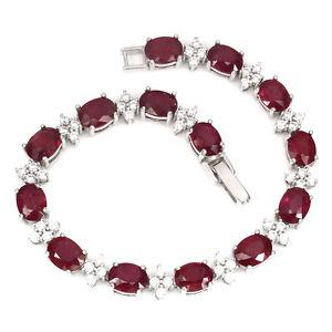 【送料無料】ブレスレット アクセサリ― スターリングシルバーディープピンクルビーブレスレットインチsterling silver 925 genuine natural deep pink ruby gemstone bracelet 75 inch