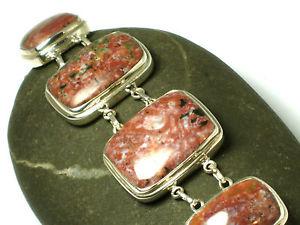 【送料無料】ブレスレット アクセサリ― オーシャンジャスパースターリングシルバーブレスレットchunky ocean jasper sterling  silver 925 gemstone bracelet  boxed