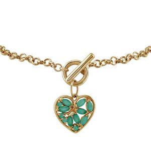 【送料無料】ブレスレット アクセサリ― イエローゴールドエメラルドハートチャームブレスレットgemondo 9ct yellow gold 066ct emerald heart charm 19cm bracelet