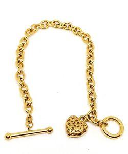 【送料無料】ブレスレット アクセサリ― イエローゴールドハートチャームブレスレットバー9ct yellow gold fancy heart charm bracelet tbar 75fully hallmarked